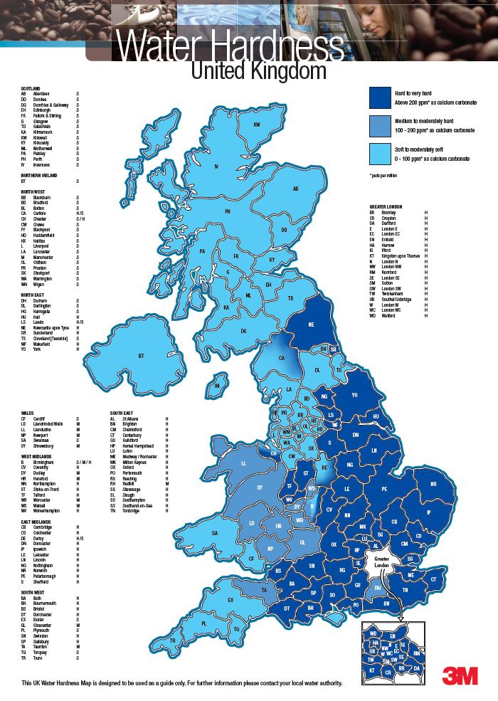 Water Hardness Map Water Hardness Map UK   The WCA