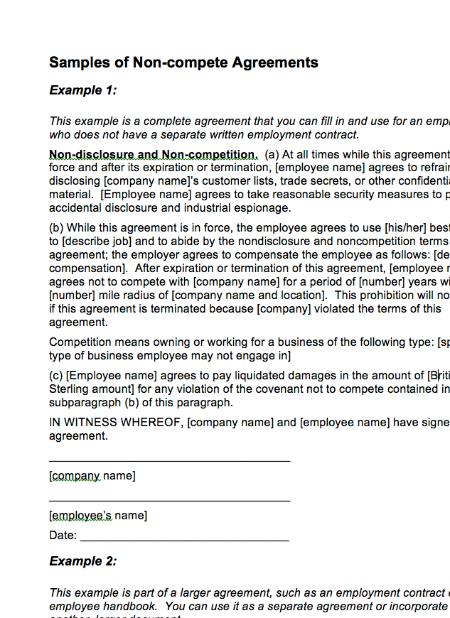 Non Compete Agreement Samples The Wca