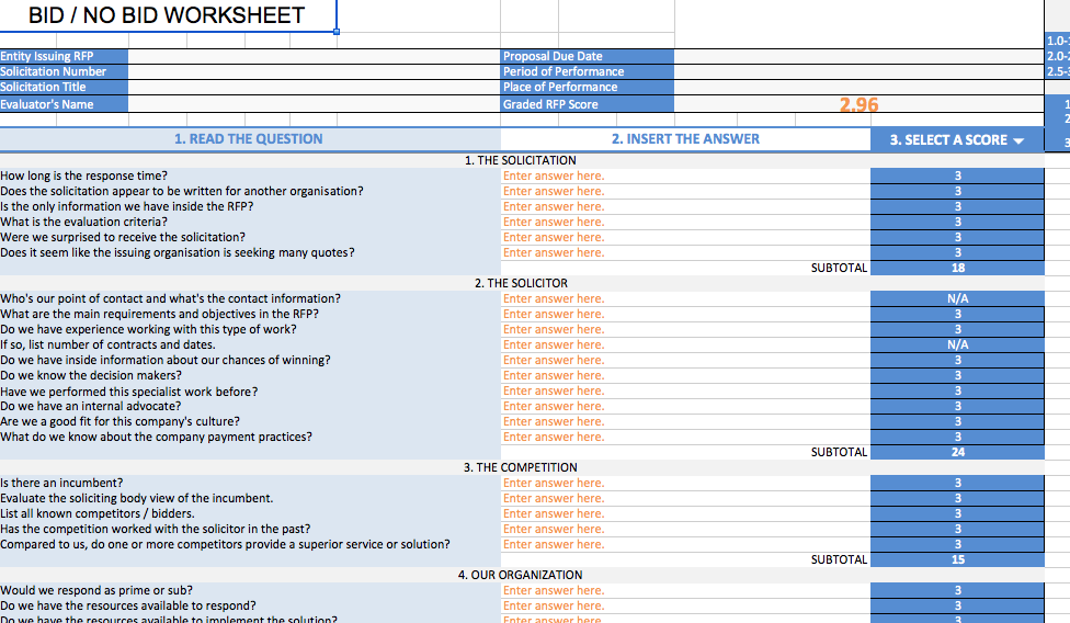 Professional Commercial Bid Sheet Bid No Bid Excel File The Wca