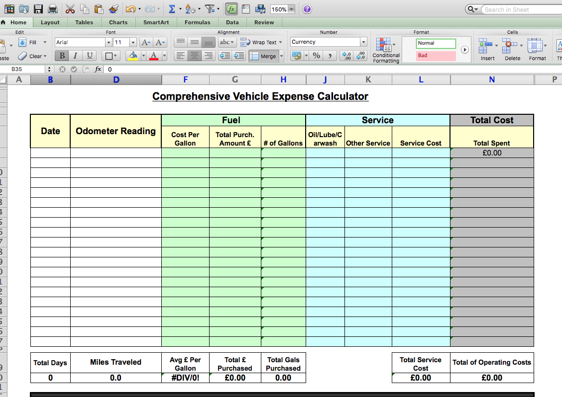 expenses calculator excel