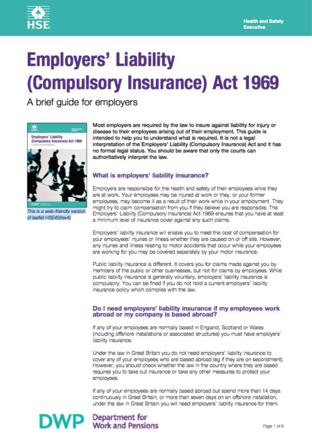 Employers Liability Compulsory Insurance Act 1969 The Wca