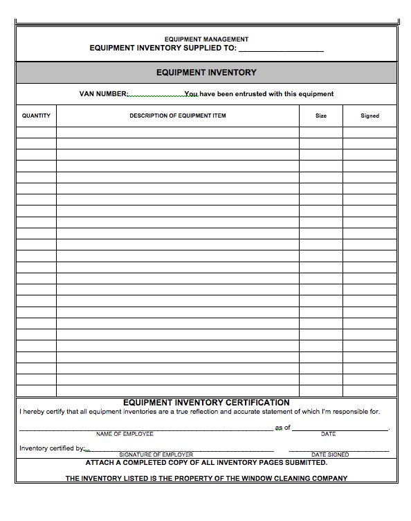 equipment inventory document the wca